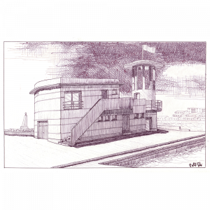 Apunte arquitectónico realizado a bolígrafo sobre papel Gvarro.