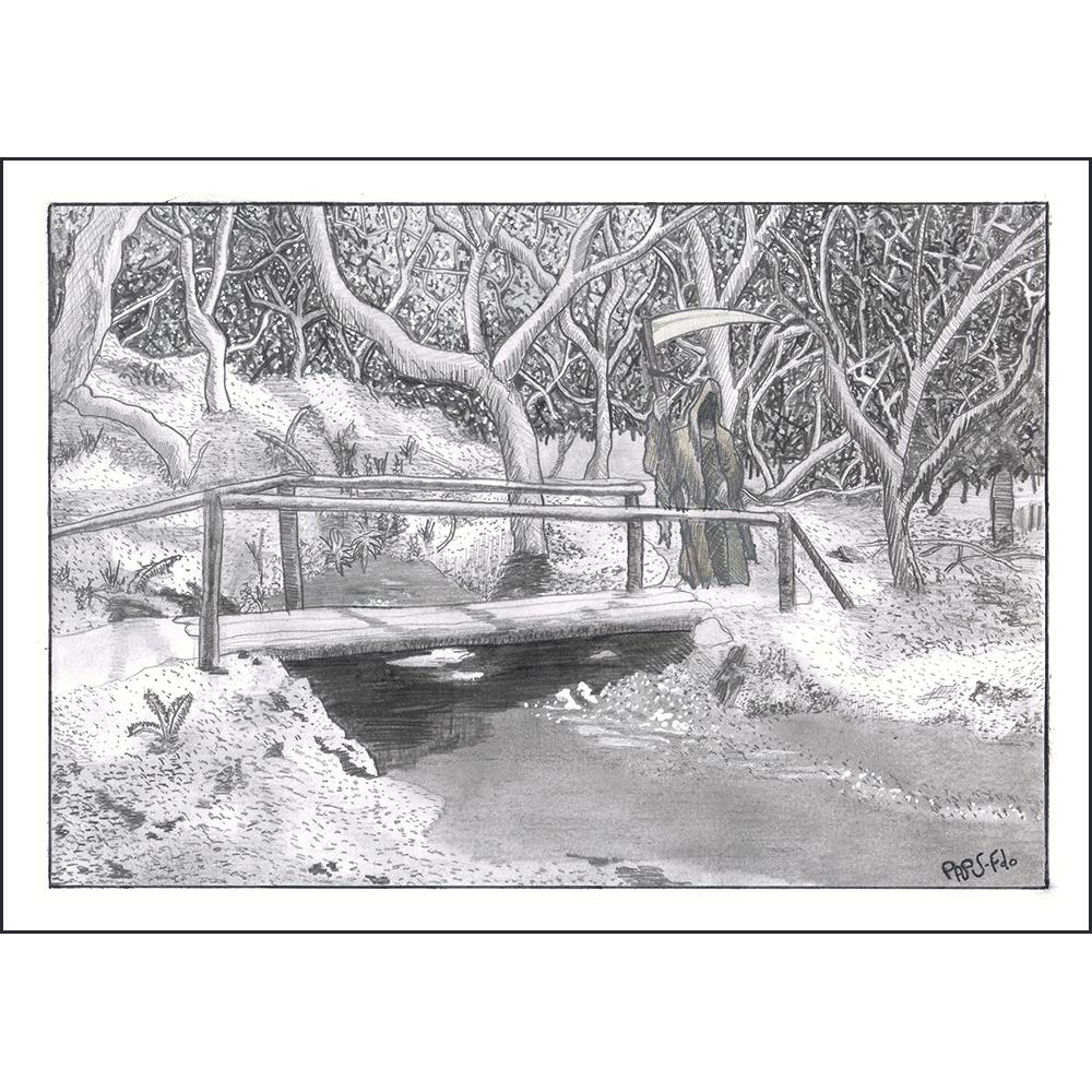 Realizado a bolígrafo y puntualmente con lápiz HB. Paisaje desde el interior de un espeso bosque, con el nacimiento de un río y un puente de madera que lo cruza. Antes de llegar a él desde un camino, la presencia de la muerte.