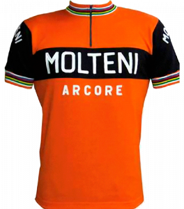 Maillot de Eddy Merckx, campeón de mundo de ciclismo en ruta, como modelo para pintar murales en Meta Bike Cafe.