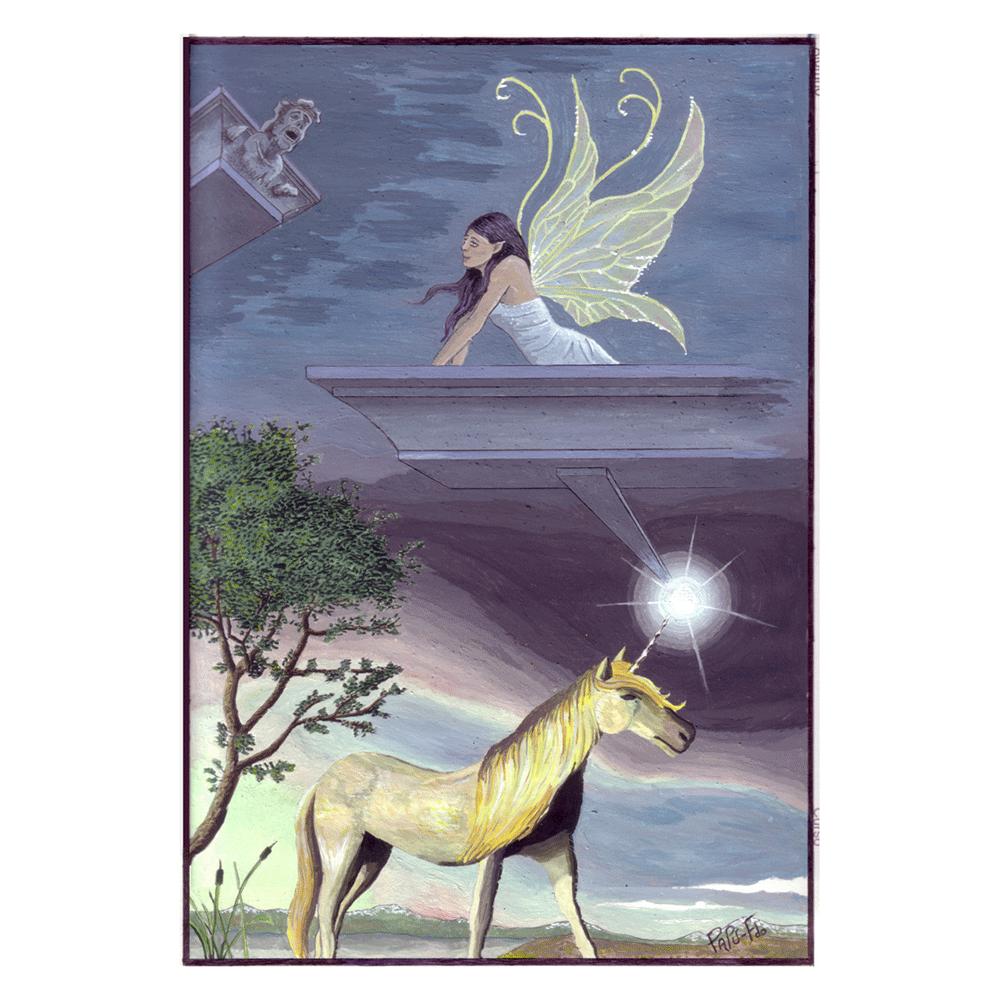 Imagen obtenida por escaneado, es una pintura realizada con pintura al temple sobre cartulina. Su estilo es surrealista y con influencias de Salvador Dalí. Se muestra un unicornio y un hada como personajes principales, en dos mundos separados por una perspectiva cónica focal sobre un punto blanco con destellos.
