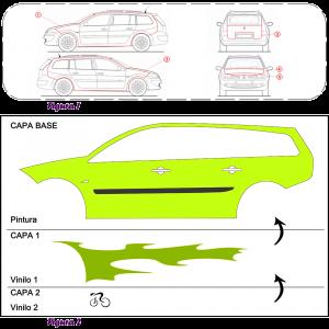 La imagen se divide en dos secciones con borde a línea discontinua. La primera muestra el despiece de las piezas de carrocería de un renault megane donde se alojarán vinilos. La segunda muestra el desglose de cada uno de los vinilos en capas colocados sobre la carrocería lateral del vehículo.