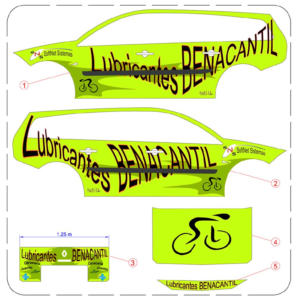 Se muestran hasta seis piezas de carrocería en sistema diédrico del vehículo del equipo lubricantes benacantil, con el diseño de los vinilos.