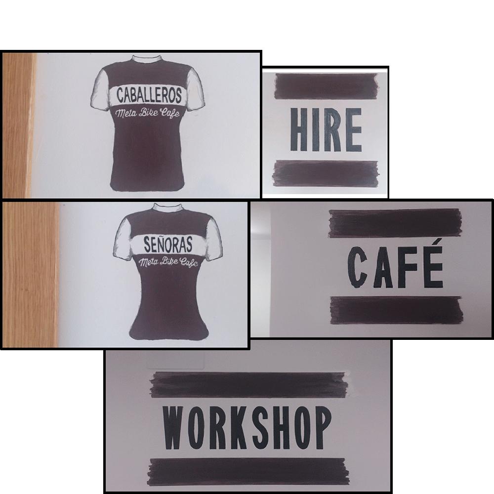 Detalle de cinco murales artísticos pintados dentro del local de Meta Bike Cafe. Arriba dos detalles: un maillot de ciclismo, en color acero corten, masculino y otro con la palabra 'HIRE' con dos franjas horizontales en color acero corten. En medio: un maillot de ciclismo, en color acero corten, femenino y otro con la palabra 'CAFE' con dos franjas horizontales en color acero corten. Debajo el último con la palabra 'WORKSHOP' con dos franjas horizontales en color acero corten.