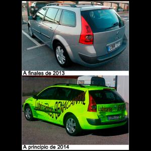 Arriba la imagen de finales del año 2013 del coche de equipo y debajo la fotografía de principios del año 2014.