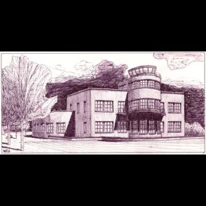 Apunte arquitectónico académico realizado a bolígrafo dibujado sobre papel Gvarro.