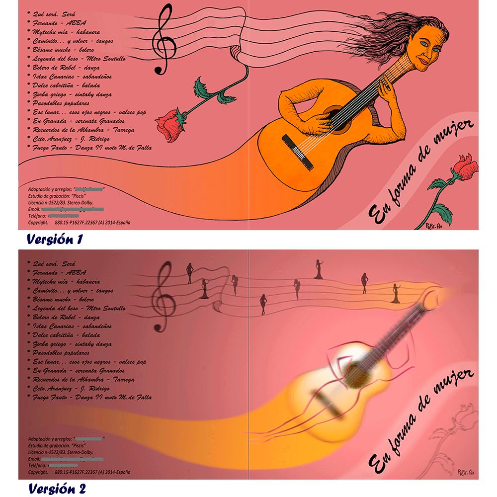 Aparecen dos diseños de carátulas musicales con portada y reverso en un solo diseño. En ambos diseños aparece en la parte izquierda del reverso los títulos de canciones y créditos y el fondo es en color magenta oscuro. En el primer diseño se basa en un hibrido entre mujer y guitarra española con un grafismo cercano al caricaturesco; y en la parte superior el pelo de la mujer se va convirtiendo en un pentagrama musical. El segundo diseño se basa en la misma idea pero con un diseño más informatizado donde la silueta de una mujer y la guitarra se superponen