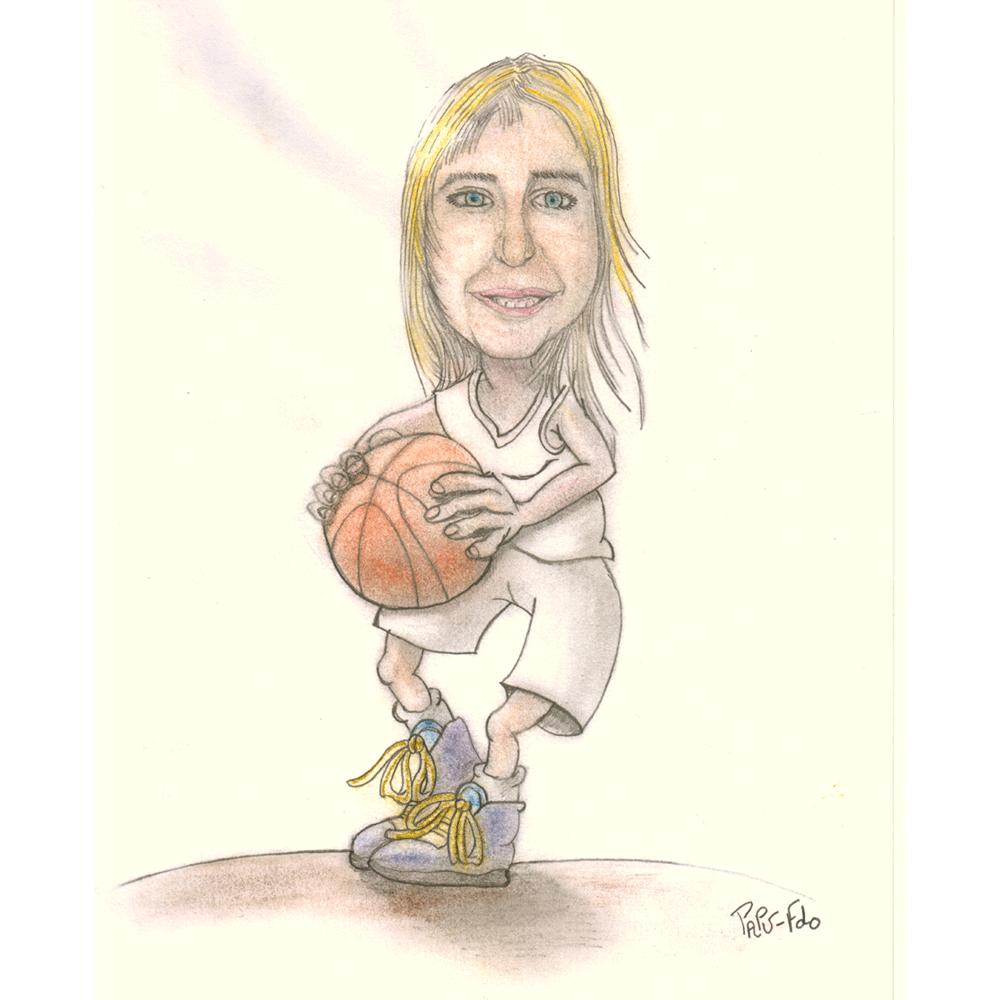 Caricatura realizada a lápiz y con color mediante pasteles sobre papel de 130 gr. Aparece vestida con una equipación blanca de baloncesto y sujetando una pelota de basket.