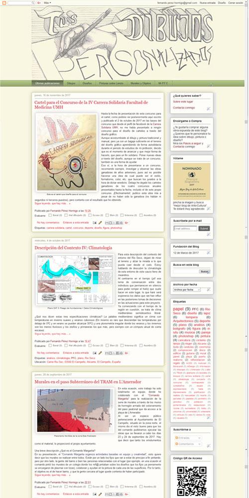 Captura de pantalla de la Página de inicio de Blogger en 2018 de 'Tus Dibujos Personalizados'.