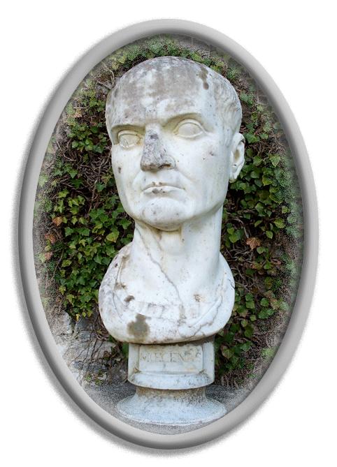 Fotografía del busto de Cayo Cilino Mecenas en el interior de un marco ovalado en colores de grises degradados y sombras para crear un efecto 3D en dicho marco.