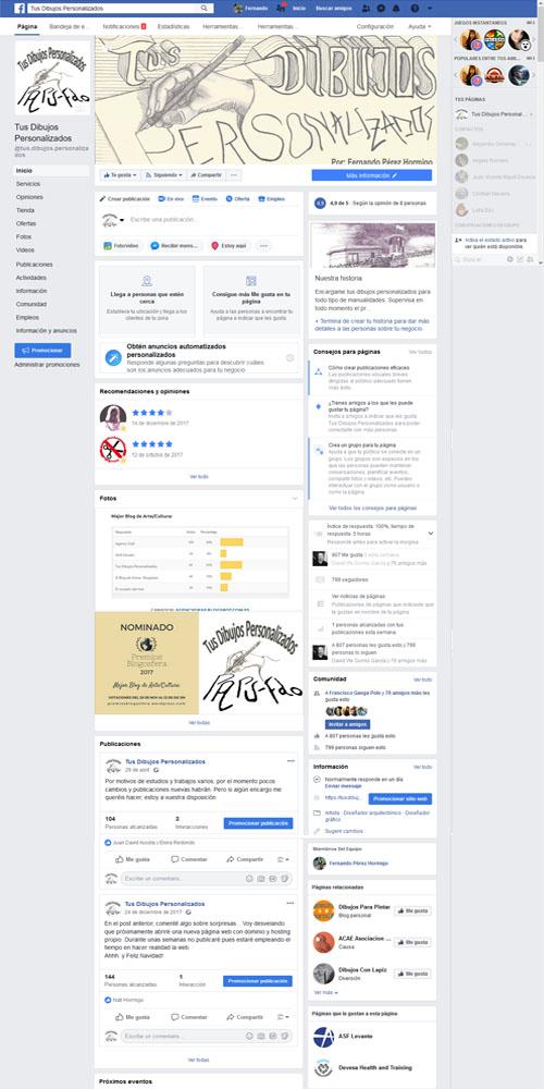 Captura de pantalla de la página de facebook de Tus Dibujos Personalizados hecha en 2018.