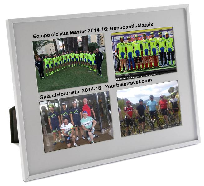 Portafotos para cuatro imágenes. Las fotos son sobre mi etapa ciclista. Dos de ellas sobre el equipo Benacantil-Mataix y las otras dos sobre mi función de guía cicloturista en 'Yourbiketravel.com'.