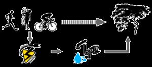 Esquema básico y cíclico con los iconos: Los tres deportes (carrera, ciclocross y ciclismo), un árbol, una bomba de impulsión y la generación de electricidad.