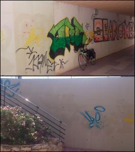 Dos fotofrafías que muestran el estado previo antes del pintado de los murales, con diversos graffitis que estropean la estética de dichos muros.