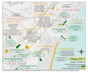 Aparecen en el mapa las poblaciones de El Campello, Muchamiel y San Juan de Alicante que justifica la elección del Contexto del Río Seco. Se indican los centros deportivos y los espacios verdes.