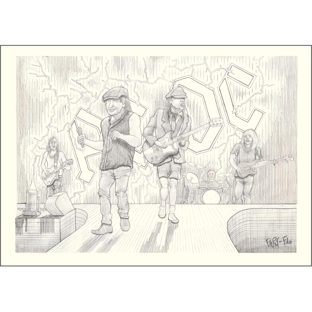 Dibujo donde aparecen los cinco integrantes históricos de AC DC en directo: Brian Johnson, Malcolm Young, Angus Young, Cliff Williams y Phil Rudd. Brian y Angus en primer plano, seguido más atras por Malcolm y Cliff y al fondo en su batería Phil. Al fondo las letras del grupo iluminadas, con electricidad y rayos.