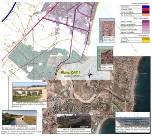 Composición de mapas: de fondo un mapa satelital y encima mediante superposición inclinada el mapa de delineación a escala urbana. El objetivo es describir el entorno urbano de la desembocadura Río Seco en El Campello.