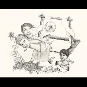 Caricatura donde aparecen tres personas: los novios Felipe y Eva junto a su hija. Su hija chuta un balón que golpea la cabeza de su padre y se dirige hacia un pórtico de madera construido al modo ibicenco.
