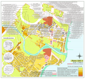 Composición de mapas: de fondo un Mapa a escala urbana y encima su axonometría explosionada que describe la parcelación del Río Seco y el límite. Este límite se llama: perímetro del contexto del proyecto.