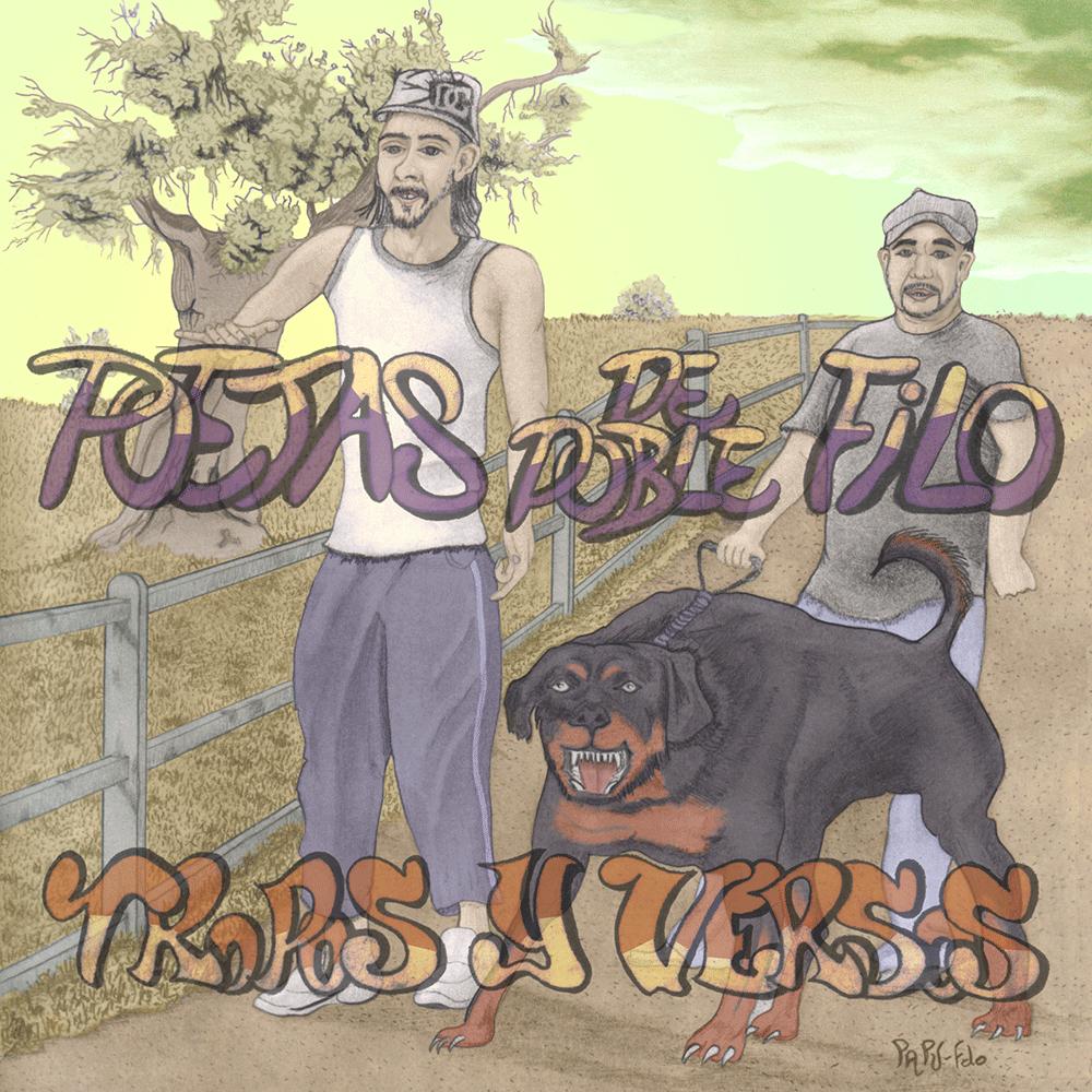 """Aparecen en la portada, los artistas: El Flako Loko y el Poeta Mahareta, junto a su perro rottweiler. Los titulos son: """"Poetas de doble filo"""", y """"tropos y versos"""". Y todo con un fondo rural y un ambiente psicodélico."""