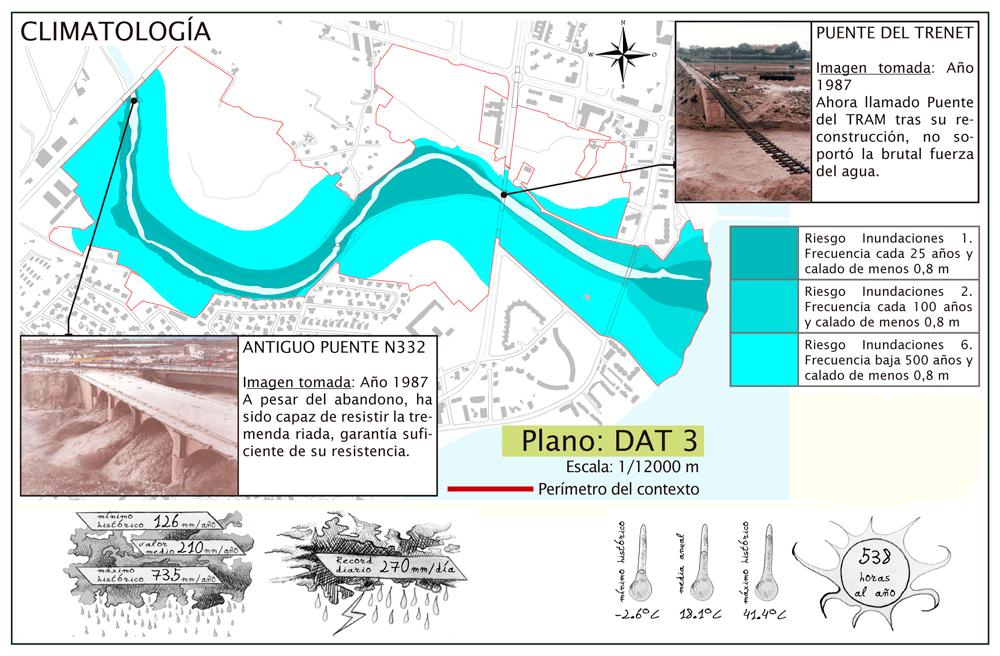 Mapa a escala ajustada a los límites físicos del área del pfc, que describe las áreas con riesgo de inundaciones y señala los puentes afectados por inundaciones. Debajo y con dibujos se explica la climatología existente.