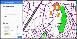 Captura de pantalla de la aplicación 'Mapstyle'. Aparece a la izquierda las herramientas de edición y ajustes para modificar el contenido del mapa de la derecha. El mapa aparece con los ajustes ya modificados y se sitúa en el Polígono de San Blas, Alicante.