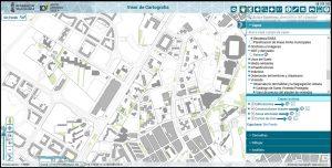 Captura de pantalla de la aplicación 'Visor GVA'. Aparece a la derecha una leyenda para poder activar o desactivar capas que se superpondrán sobre la capa base, la cual es 'sin fondo'. Las capas activadas son: 'Edificaciones', 'construcciones lineales', 'zonas arboladas' y 'curvas de nivel'. El mapa, a una escala de 1/9000 metros, se sitúa en el Polígono de San Blas, Alicante.