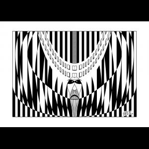 Diseño de composición con negro sobre blanco mediante el uso de figuras geométricas planas de contorno cerrado. Las figuras tienen perímetro tanto curvo como rectilíneo y la composición general es simétrica con eje vertical. En la parte central, puede intuirse un rostro.