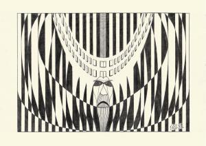 Dibujo de composición con negro sobre blanco mediante el uso de figuras geométricas planas de contorno cerrado. Las figuras tienen perímetro tanto curvo como rectilíneo y la composición general es simétrica con eje vertical. En la parte central, puede intuirse un rostro.