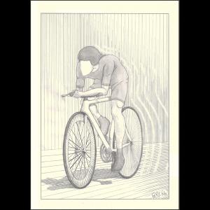 Dibujo a portaminas y técnica de rayado en el sombreado. Sobre papel normal, retrato en primer plano de un ciclista contrarrelojista. Su enfoque es de perfil con ligera inclinación al frente. Su rostro queda completamente en blanco.