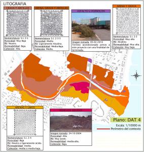 Mapa a escala ajustada a los límites físicos del área del pfc, que describe la litología. El mapa se describe mediante una determinada gama cromática donde cada color es un tipo de suelo. Se adjuntan fichas para cada color con la descripción de un dibujo ilustrativo para cada tipo de terreno.