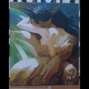 Lienzo de 60 x 50 centímetros. La pintura tiene un estilo entre impresionista y expresionista, donde un hombre y una mujer se abrazan como si estuvieran fundidos. Se aprecian detalles de juegos visuales que definen los temores de la pareja.