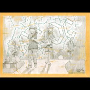 Restauración del dibujo que realicé, donde aparecen los cinco integrantes históricos de la banda de hard rock AC DC en directo: Brian Johnson, Malcolm Young, Angus Young, Cliff Williams y Phil Rudd. Este dibujo pegado con cola, sobre una base de cartulina. Después de los límites del área de dibujo, hay pintado un marco con tempera y cola en color amarillo-nápoles.