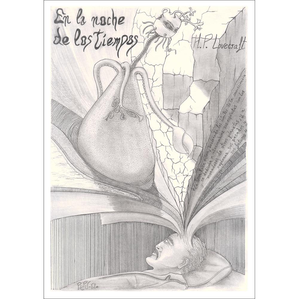 Ilustración y dibujo, compuesto por dos dimensiones. En la real, aparece el profesor Peaslee, acostado en una cama, soñando. El sueño, que es la otra dimensión, sale de la cabeza de Peaslee, y se trata del mundo de los seres de la Gran Raza de los Yith, descrito en el relato de Lovecraft.