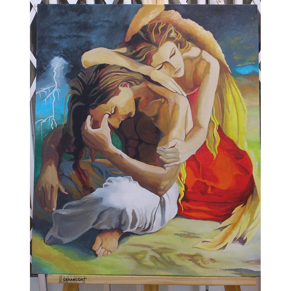 El lienzo se centra en dos personajes. Un hombre joven se encuentra sentado en el suelo con las piernas cruzadas. Tiene el torso desnudo, la espalda hacia delante y apoya la frente sobre la mano izquierda. La mujer, con un vestido rojo, se sitúa detrás del hombre y se apoya sobre él. Ella muestra un semblante de consuelo mientras él se muestra preocupado. En la escena de detrás, aparece una climatología de nubes muy oscuras con un rayo situado en la parte izquierda del lienzo.