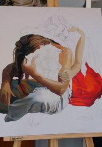 El lienzo no posee una base de pintura y queda dibujado a lápiz estando en blanco. EL dibujo son dos personajes sentados en el suelo, un hombre con el torso desnudo delante de la mujer con vestido rojo y ella apoyada en su espalda. Las partes pintadas de él son las piernas, los brazos y cabello. De ella, pintado el vestido y un brazo.