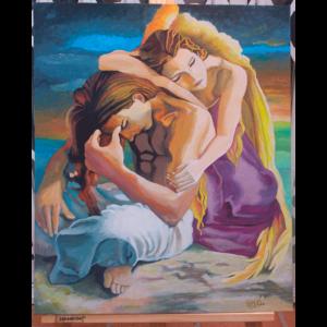 El lienzo se centra en dos personajes. Un hombre joven se encuentra sentado en el suelo con las piernas cruzadas. Tiene el torso desnudo, la espalda hacia delante y apoya la frente sobre la mano izquierda. La mujer, con un vestido violeta, se sitúa detrás del hombre y se apoya sobre él. Ella muestra un semblante de consuelo mientras él se muestra un poco preocupado. En la escena de detrás, aparece de forma difusa una climatología de nubes oscuras con un paisaje costero en calma.