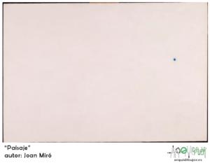 """Imagen extraída desde la fundación de Joan Miró. Es un lienzo de 130 x 195 cm. Debajo del lienzo, una banda blanca horizontal con el texto: """"Paisaje""""; y debajo: """"autor: Joan Miró"""". A la derecha de estos textos, el logotipo de Arquidibujor."""