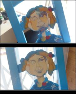 """En la """"imagen 02"""" aparecen pintados los soportes del respaldo en azul cían como pintura base y dibujado a lápiz los rasgos faciales de un nuevo personaje sobre la silueta de la caricatura de una niña marinera. En la """"imagen 03"""" aparece la misma escena que en la """"imagen 02"""" pero con una primera capa de pintura sobre el rostro del nuevo personaje."""