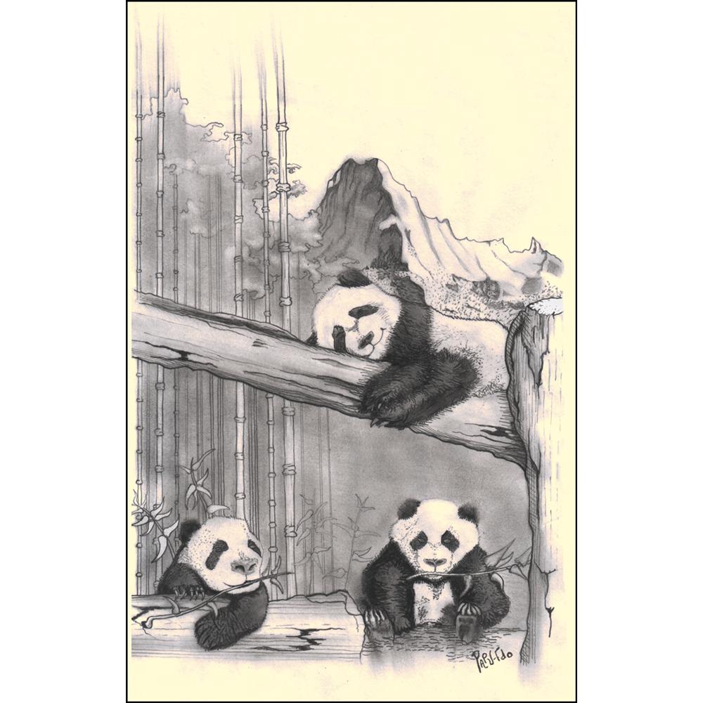 Dibujo realizado mediante la técnica casi exclusiva de difuminado a lápiz. Mínimamente usado el portaminas en contornos y algunos rayados para sombras. Aparecen en primer plano, los tres osos panda infantiles, uno tumbado boca abajo sobre una rama gruesa de árbol, otro sentado en el suelo debajo del anterior con una ramita en la boca; y el último apoyado sobre un tronco caído. Detrás de ellos, un bosque de bambú con una montaña escarpada al fondo.